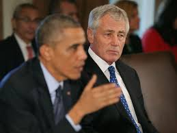 Defense Secretary Chuck Hagel and President Obama at a White House news conference announcing Mr. Hagel's resignation on Monday, November 24th 2014