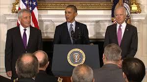 Defense Secretary Chuck Hagel, President Obama & Vice President Joe Biden at a White House news conference announcing Mr. Hagel's resignation on Monday, November 24th 2014