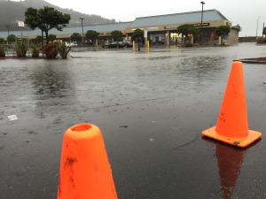 Flooded parking lot. Linda Mar Shopping Center, Pacifica