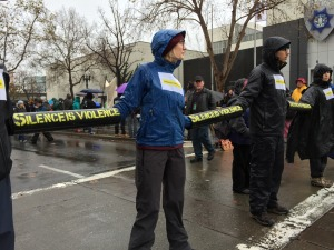 Chained together! protesters block Broadway 7th/Street - Entrances to Oakland Police Department headquarters  Monday, December 15th, 2014