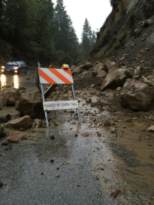 Bear Creek Road off of Highway 9. A mud and rock slide blocked the south lane of traffic.  Wednesday, December 3rd, 2014