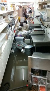 Stable Cafe - a problem all too familiar. Heavy Rain = Flooding. Folsom Street, SoMA December 3rd, 2014