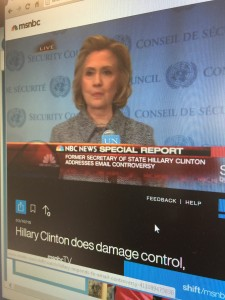 Secretary of State addressed the media shortly after giving a speech at the United Nations about women's empowerment.  Why she did not use a government email account during her tenure as the U.S.'s top diplomat. 3/10/15