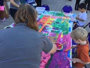 Kids and finger paint - it doesn't get any better than that!   Redwood City residents come out to celebrate the launch of Step Up and Power Down with an art project. Wednesday, June 17