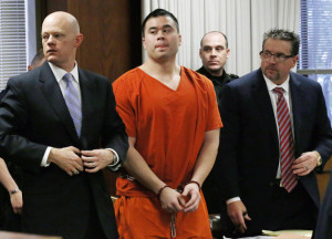 Daniel Holtzclaw, center, a former police officer, during his sentencing in January in Oklahoma City. Credit Pool photo by Sue Ogrocki