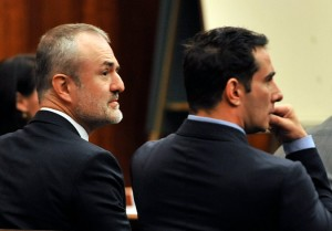 Nick Denton, left, founder of Gawker Media, and Albert J. Daulerio, a former editor in chief of Gawker, listening to testimony on Wednesday during a trial over a sex tape involving Hulk Hogan. Credit Steve Nesius/Associated Press