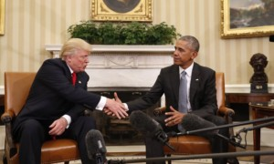 Barack Obama shakes hands with President-elect Donald Trump in the Oval Office of the White House. Photograph: Pablo Martinez Monsivais/AP